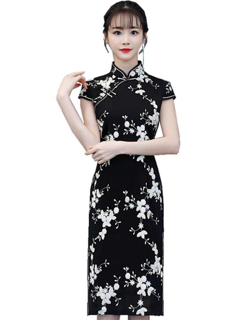 6ea6bb9a813a16 Shanghai Story noir style chinois robe longue Cheongsam manches courtes  Floral Qipao longueur au genou robe chinoise orientale