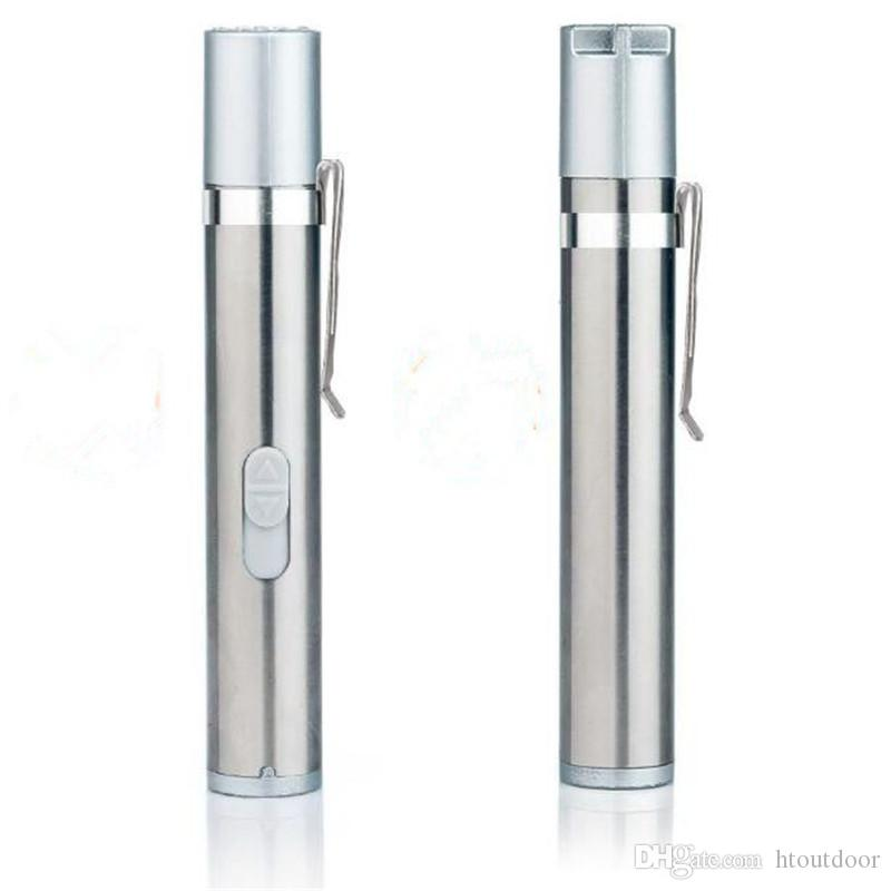 3 in 1 USB Rechargeable UV Laser Laser Flashlight Mini Medical Pen Clip Warm White Torch Light