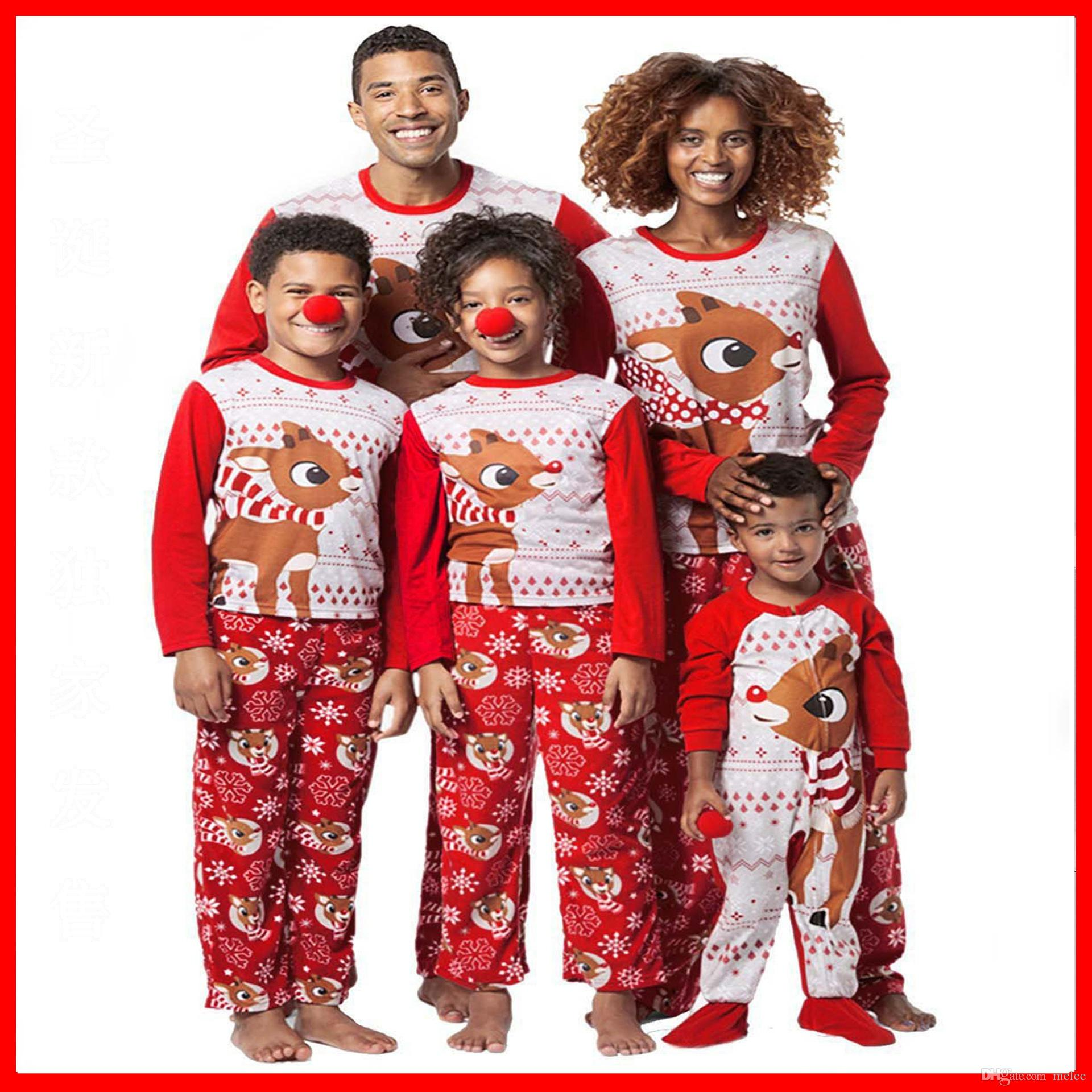 Christmas Kids Adult Santa Family Matching Pajamas Set ELK Xmas Deer Snowman  Parents Childs Snowman Sleepwear Nightwear Bedgown Matching Pajamas For Kids  ... 1bdc6e2a2