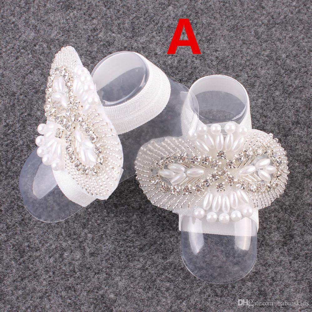 di fiore a piedi nudi e fascia Neonata appena nata Headwear bambino infante dei capretti fascia del piede del fiore accessori elastici dei capelli