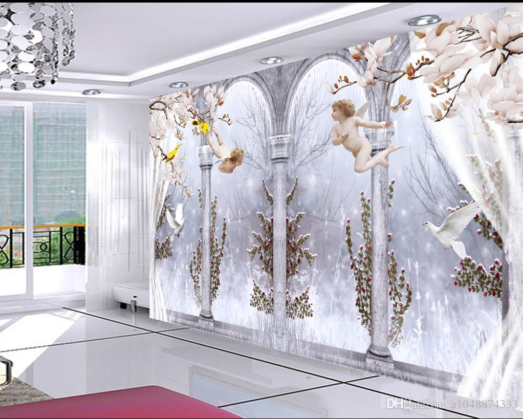 Großhandels-kundenspezifisches Fotowandwandbild Tapete-Vliestapete Elegante Engel Römische Spalte Taube 3D Fernsehhintergrund Wandraumtapete