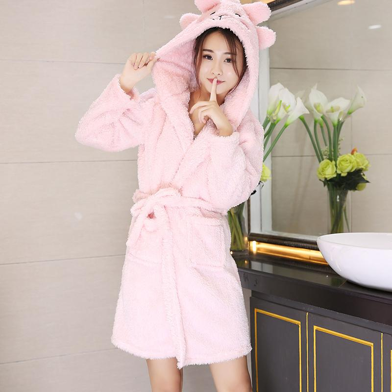 2019 Winter Bathrobe Women Pajamas Bath Flannel Warm Robe Sleepwear Womens  Robes Coral Velvet Cartoon Lovely Thicken Nightgowns From Bigseaa c7c200893