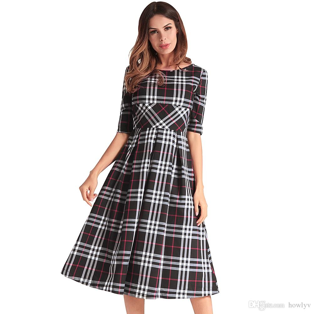Women\'S Spring And Summer New Round Neck Plus Size Dress Dress Plaid ...