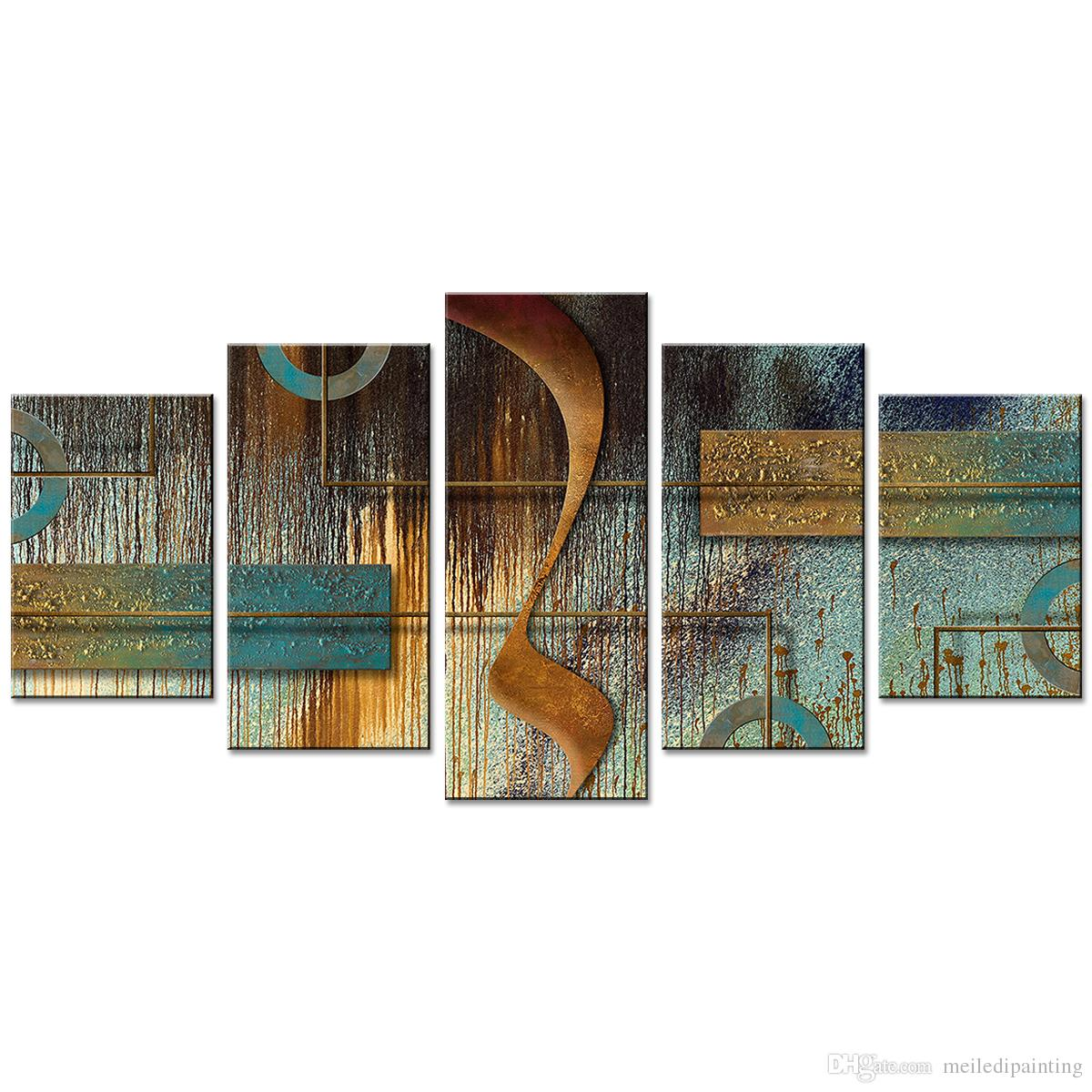2019 geometric abstract painting wall art paint canvas painting wall art for home decor 5 pictures with wooden framed from meiledipainting 39 84 dhgate