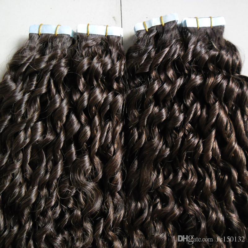 # 2 Dunkelbraun Mongolian Kinky Curly Hair 200G lockiges Band Haarverlängerungen Band in lockigen Haarverlängerung