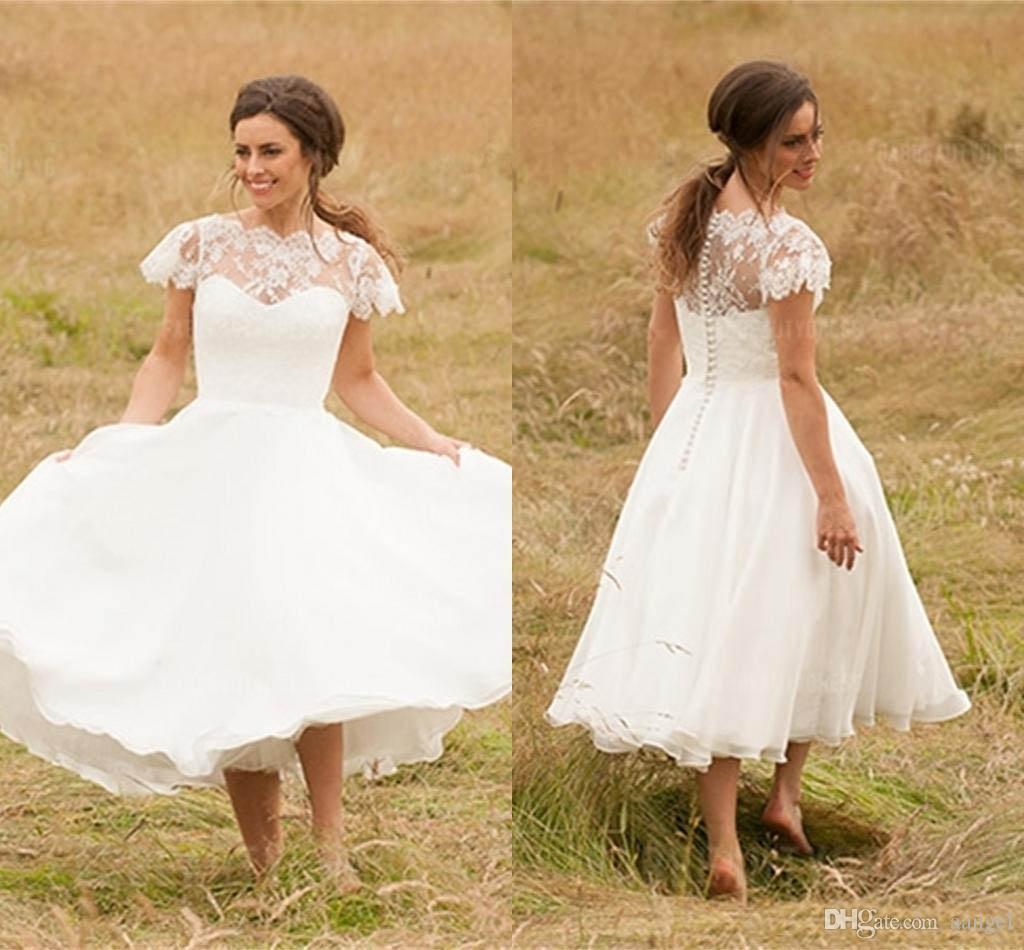 Discount 2017 Vintage Tea Length Wedding Dresses Sheer