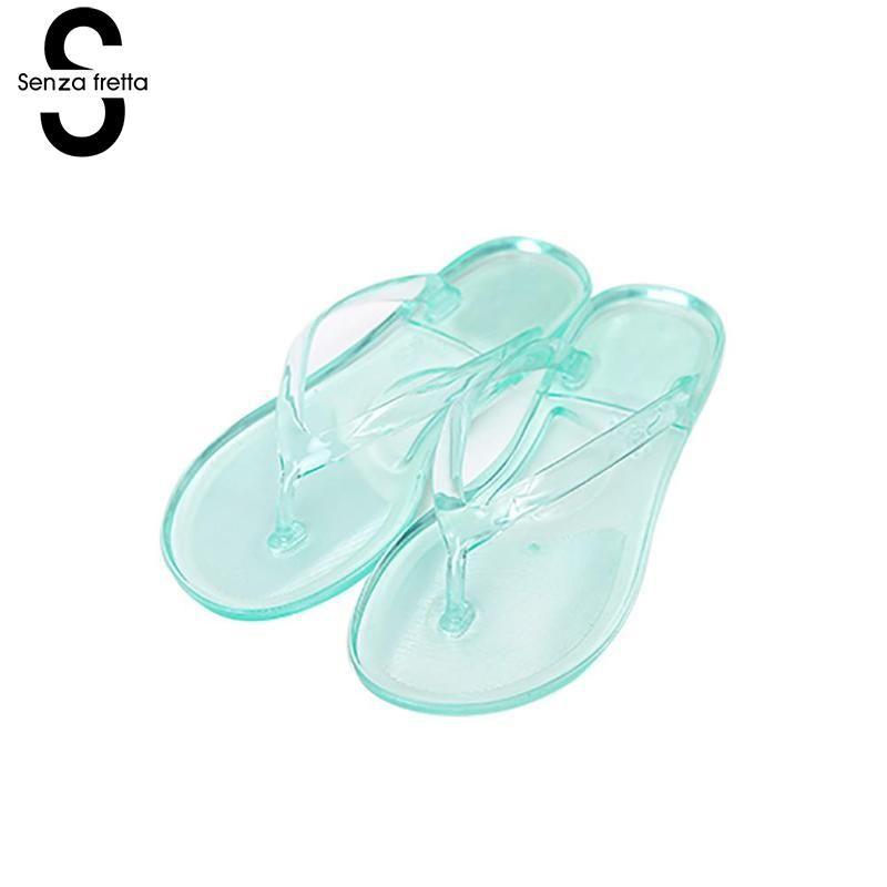 a83a272a3c5 Senza Fretta Crystal Jelly Women Flip Flops Summer Women Flip Flops Flat Sandals  Clear Jelly Crystal Slippers Bathroom Slippers High Heel Shoes Designer ...