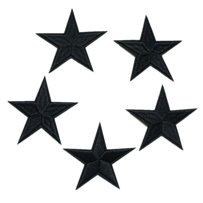 Compre 5 Unids Bordado Negro Estrellas Parches 7 Cm Hierro De Coser ...