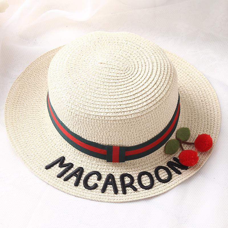 2cf5795971c 2017 Summer Women Cute Cherry Letter Embroidery Summer Sun Hat Girl Beach  Hats Chapeau Femme De Soleil Panama Women Beach Hats Sun Hats For Women  Trilby ...