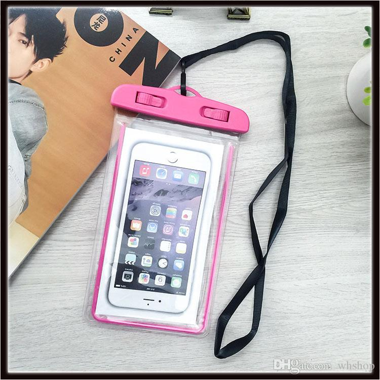 newest d6e37 a1f50 Big Waterproof Case Bag Phone Cases Luminous Phone Pouch Water Proof Sleeve  for Boating Surfing Diving Swimming
