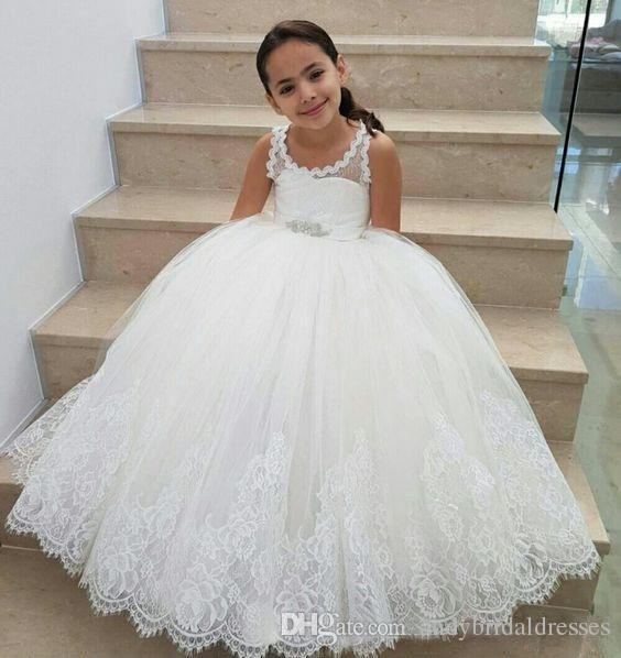 Pretty Straps Ball Gown Flower Girl Dresses For Wedding Puffy Tulle Keyhole Back Kids Birthday Party Gowns