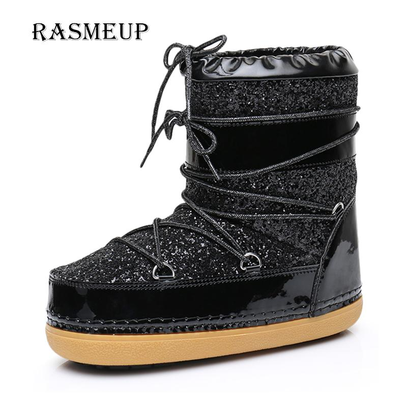 RASMEUP Women s Space Boots Winter Lace Up Plush Inside Warm Women Snow  Ankle Boots Casual Woman Sequins Flat Work Safety Shoes Black Ankle Boots  Wedge ... 3310da9e3c19