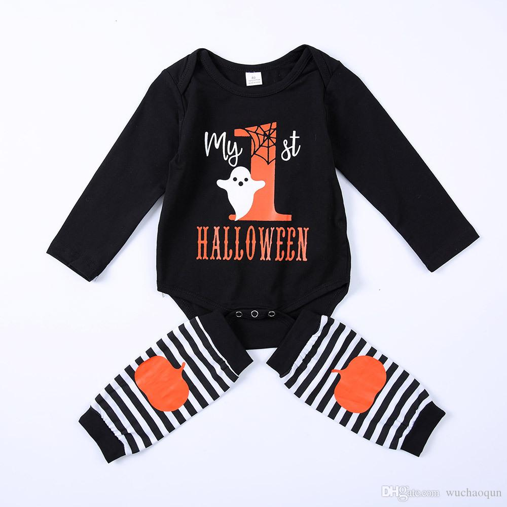 2018 my first halloween baby rompers kid clothes ghost black romper
