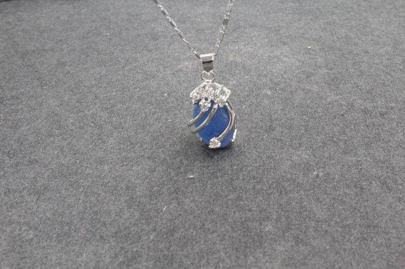 beautfuil charme 925 en argent fin Jade bleu collier pendentif