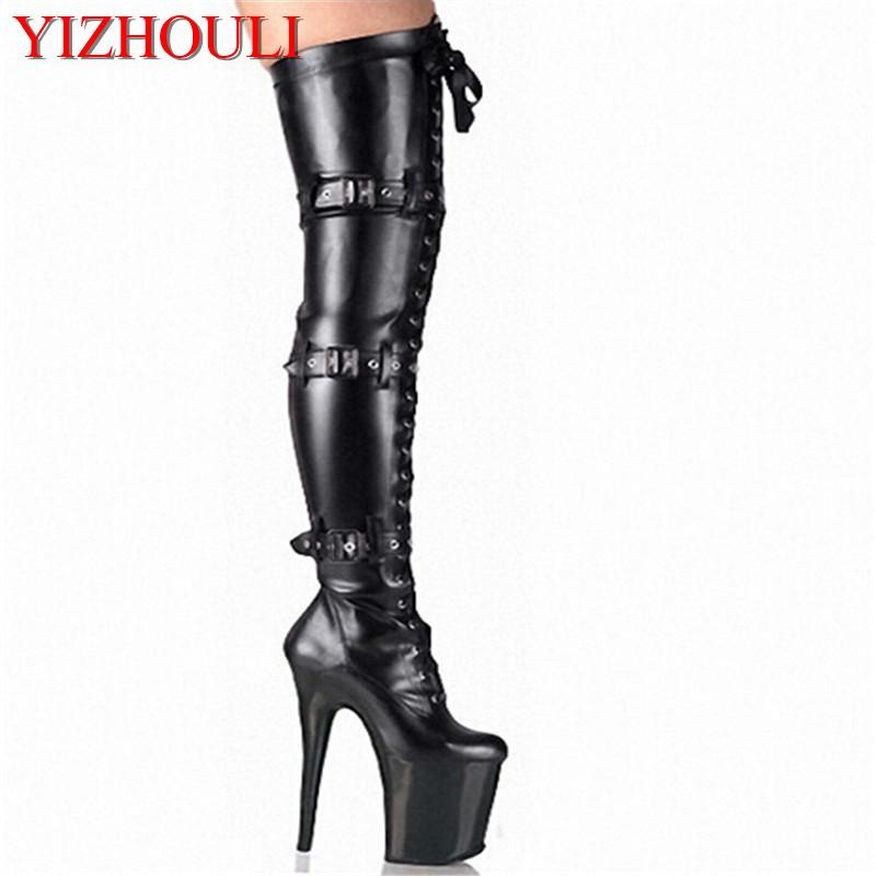 93a3a88bef0 20cm Front Platform High Heeled Shoes Tall Boots Buckle Strap Round Toe  Boots Dancer So Sexy 8 Inch Buckle Thigh High White Boots Black Boots For  Women From ...