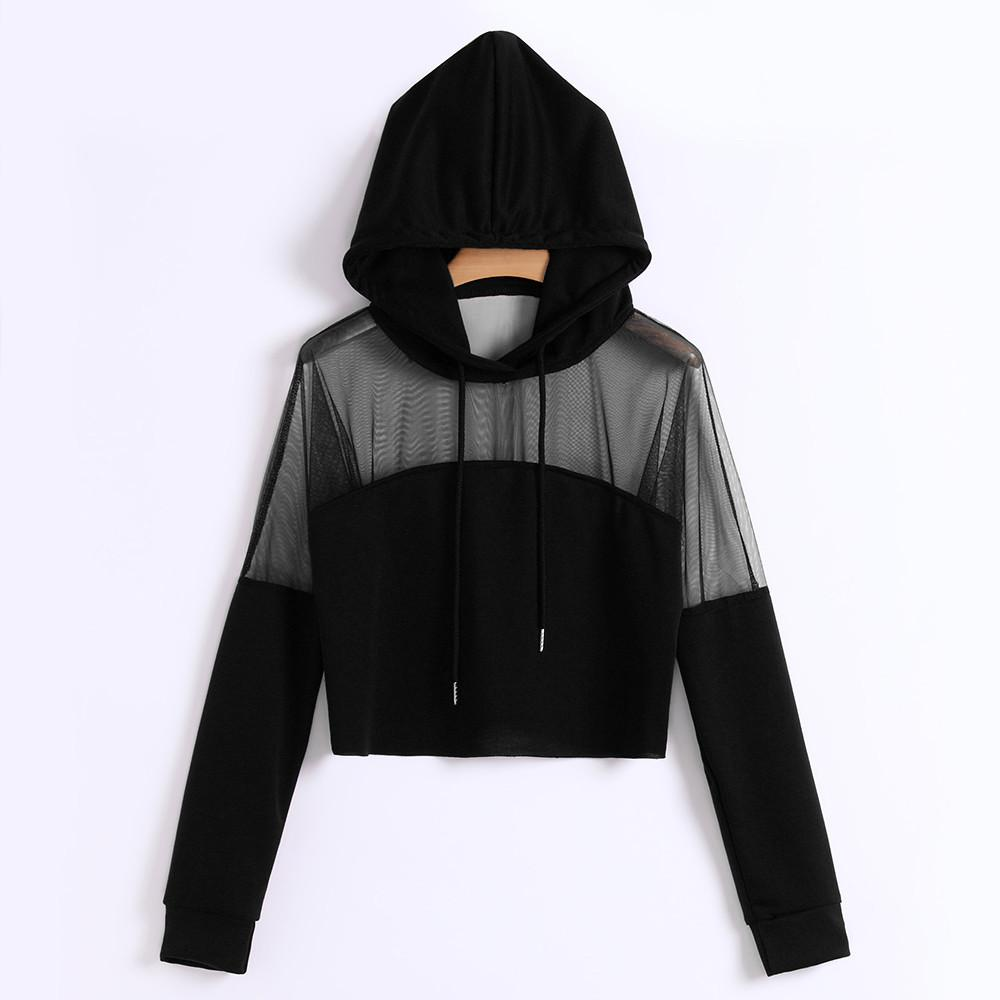 b7c2755fa1 Compre Harajuku Camisola Hoodies Outono 2018 Mulheres Streetwear Malha  Patchwork Com Capuz Roupas Kpop Cropped Tumblr Moletom Feminino De Beke