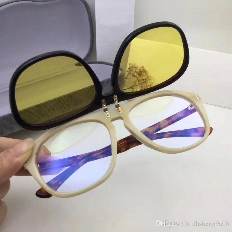 23c1587cdb Compre 0087s Habana Gafas De Sol Plegables Doble Lente Moda Marca De Lujo  Cuadrados Sombra Hombres Diseñador Vintage Acetato Marco Mujeres De Calidad  ...