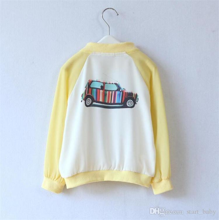 Kids chiffon sun-proof clothing cute striped car printing zipper thin coat for spring summer 1-9T boys girls casual sun-protective clothingB