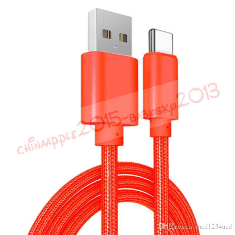 Alta velocidade 1m 2m 3m tipo C micro USB cabo trançou cabos de telefone para Samsung LG A