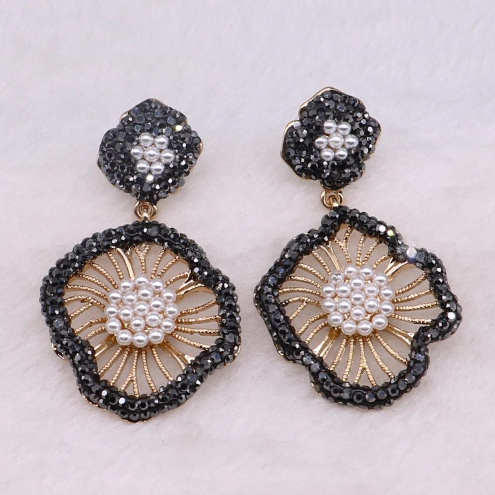 Unique Black Flower Shape Dangle Earrings CZ Pave White Beads Drop ... 8258fd176a77