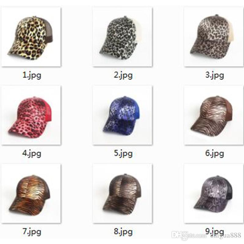 22e9eaefd14 2018 Leopard Print Summer Ponytail Baseball Cap Mesh Hats For Women ...