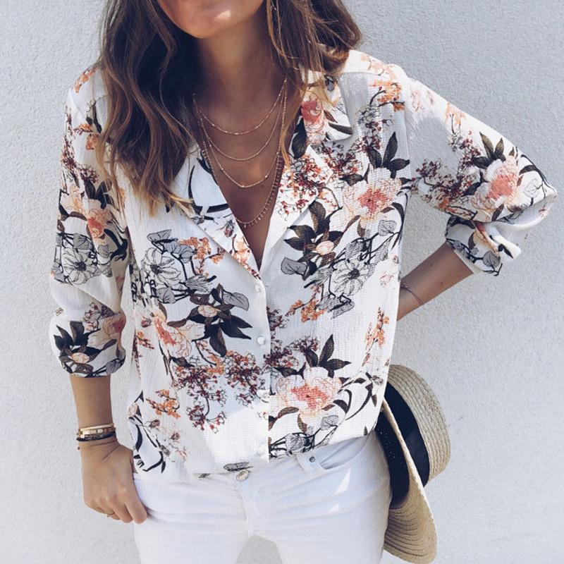 f6b7082777af7a 2019 Fashion Casual Women Ladies Blouse Shirts Long Sleeve Single Breasted Floral  Print Turn-Down Collar Slim Tops Online with $32.11/Piece on Stephanie10's  ...