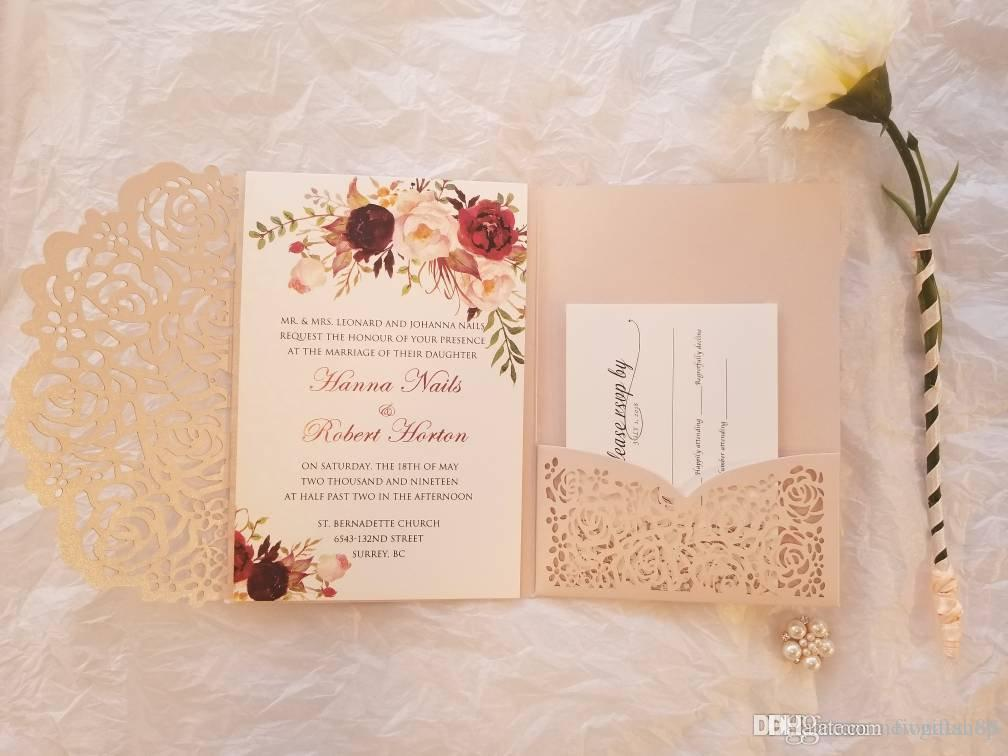 Blush Pink Laser Cut Trifold Wedding Invitation With Rsvp Card 20