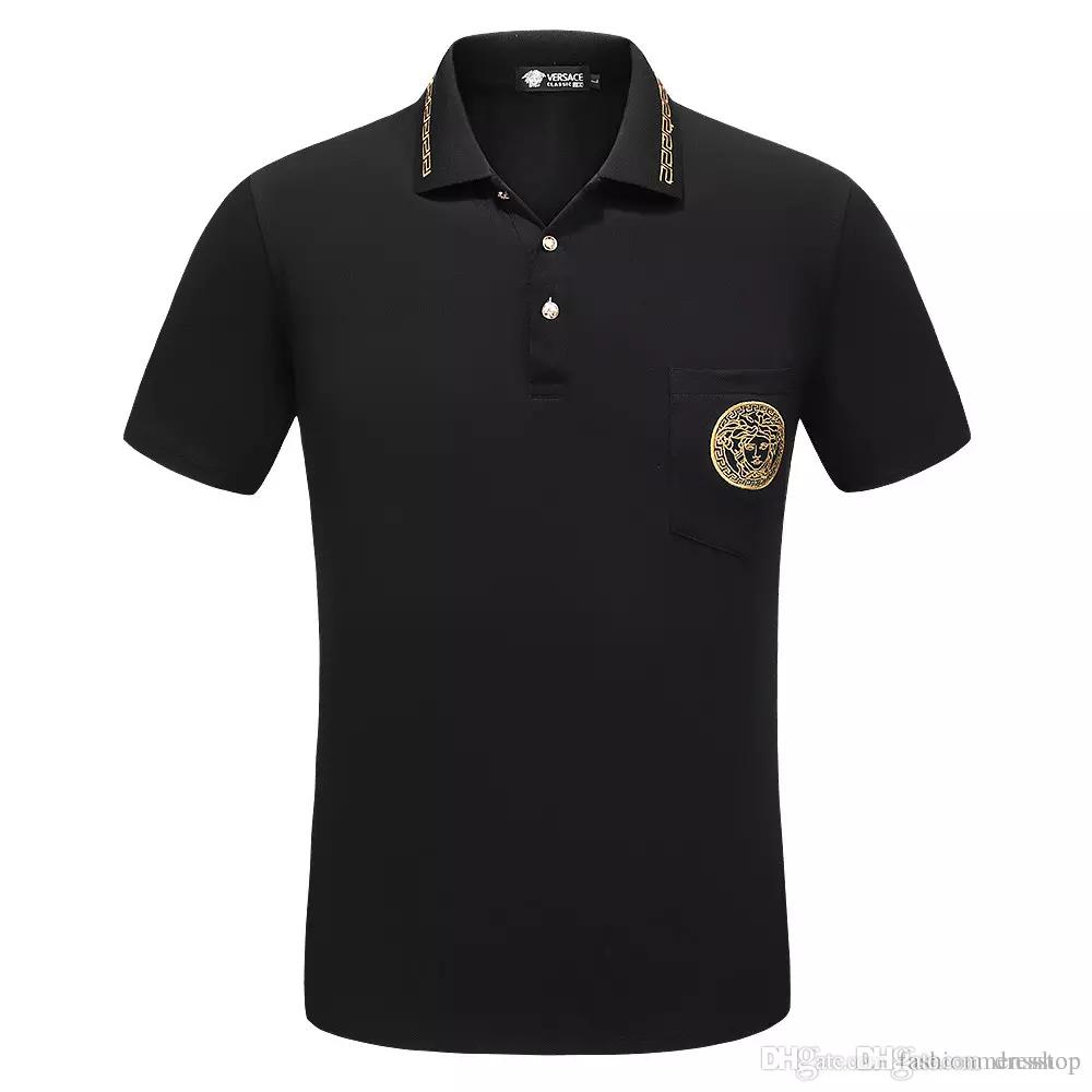 2018 Italy designer polo shirt t shirts Luxury Brand Men floral embroidery mens polos High street fashion stripe print polo T-shirt