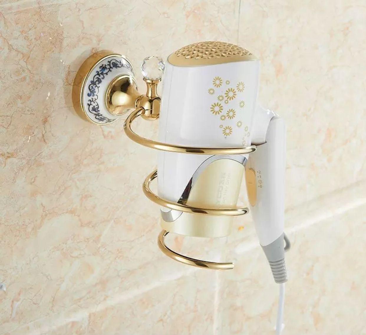 Bathroom Shelves Hair Dryer Holder Rack Golden Metal Material Hair Drier Storage Spring Hair Blower Shelf Wall Mounted
