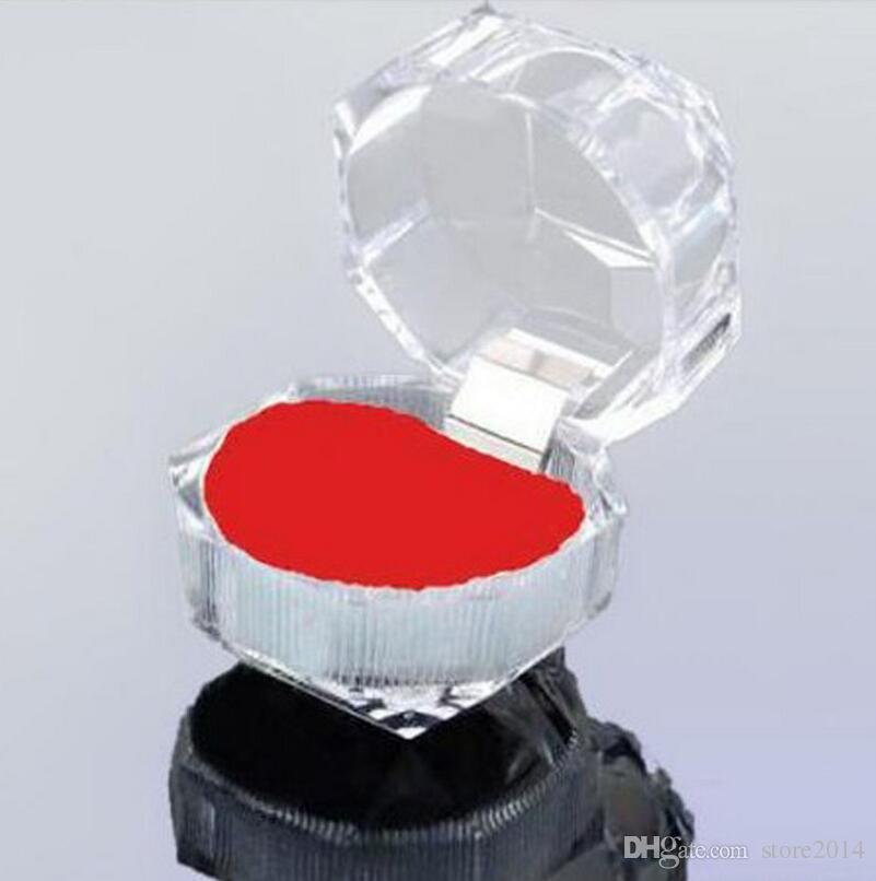 Acrylique Cristal Clair Bague Boîte Transparente 3 Couleur Boîte Stud Boucle D'oreille Bijoux Cas Cadeau Boîtes Bijoux Emballage