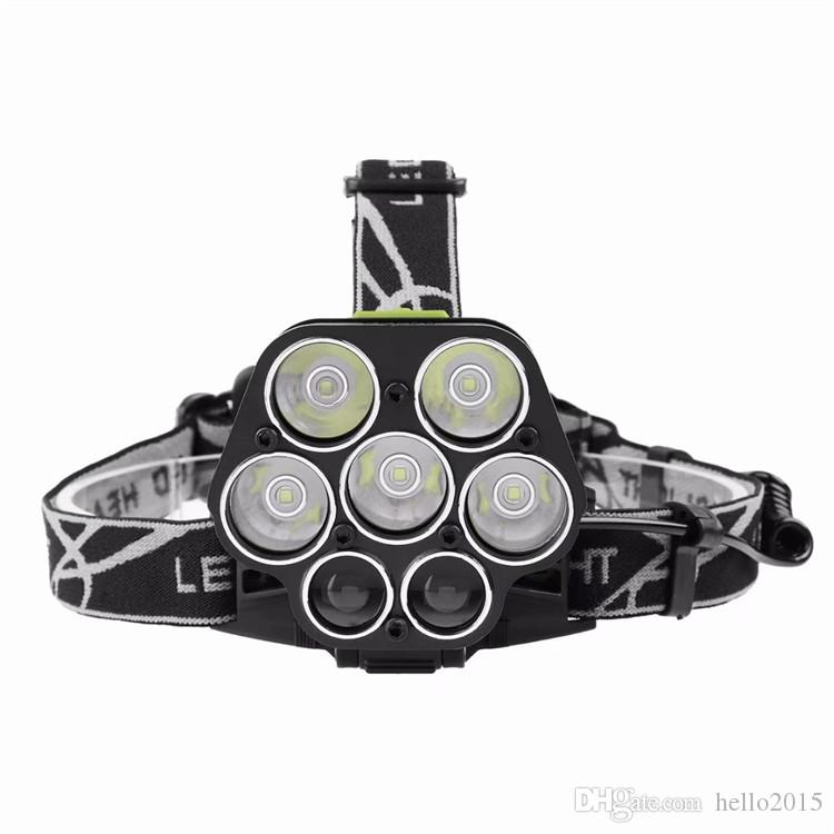 USB 20000 Lumens Ultra Bright 7 LED Headlamp Rechargeable 5*T6 Waterptoof Head Flashlight Torch Cree XML T6 Headlight For Camp+18650 battery
