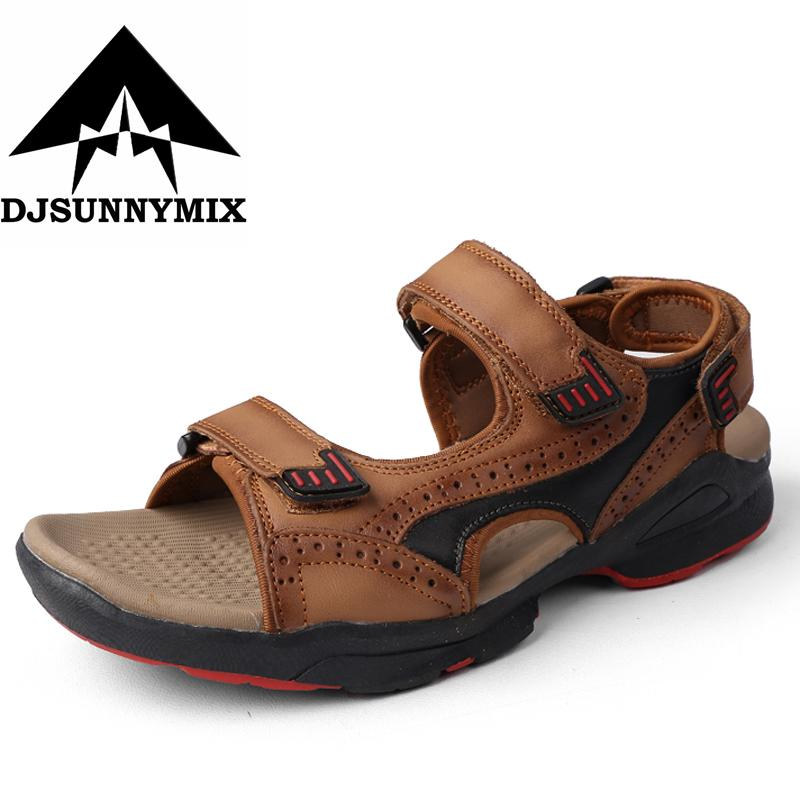 9fc9506a1 DJSUNNYMIX 2018 Summer Mens Sandals Slippers Genuine Leather Sandals  Outdoor Casual Men Leather for Men Beach Shoe Men s Sandals Cheap Men s  Sandals ...