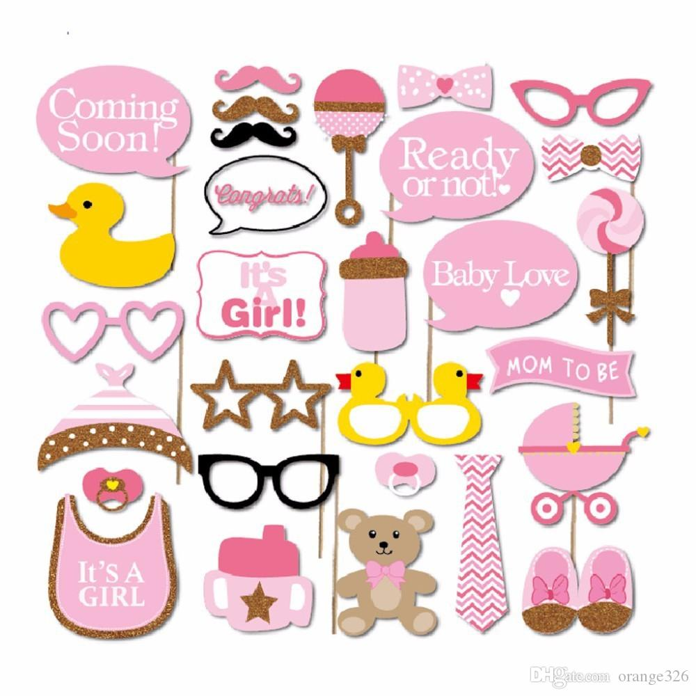 Boy Girl Photo Booth Props Baby Shower Decoration Little ducks Mustache Glasses Lips Glass Bottle Photo Booth Props