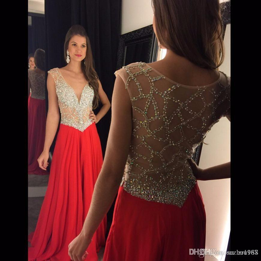 7568dd13f9 Cheap Hot Sale Sexy Deep V Neck Luxury Back Crystal Beads Chiffon A Line  Red Evening Dresses 2018 Women Formal Long Prom Dress