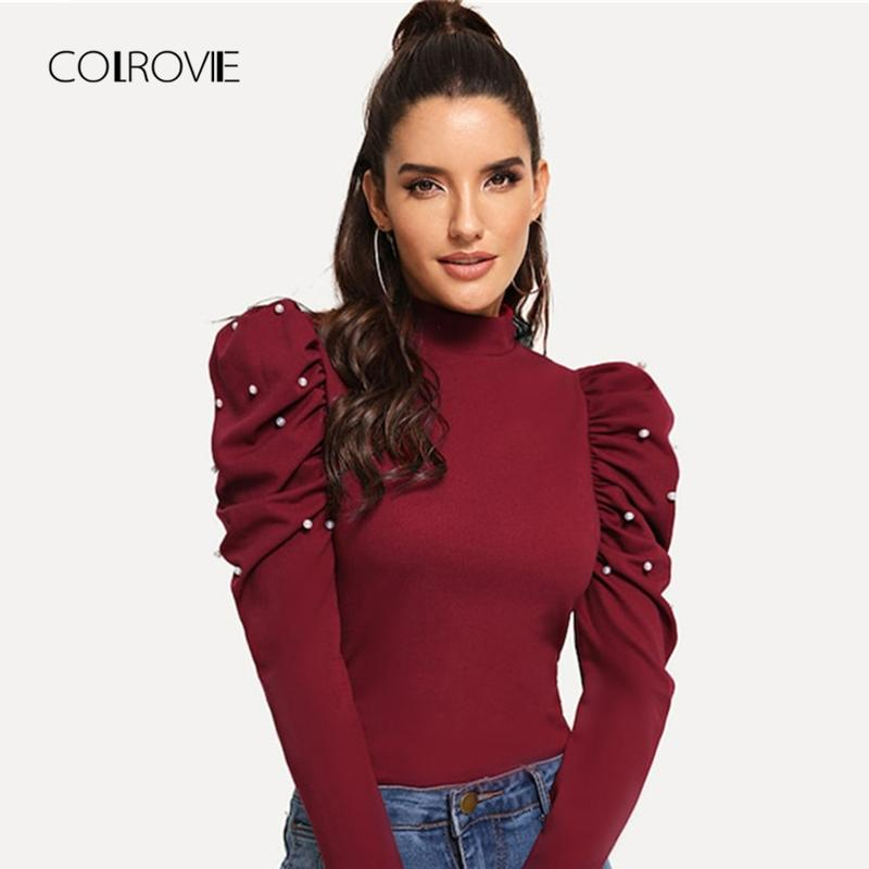 de5301aeb41 2019 COLROVIE Burgundy Pearls Beads Mock Neck Puff Sleeve Christmas Elegant  Blouse 2018 Autumn Fashion Sweet Womens Tops And Blouses From Yonnie, ...