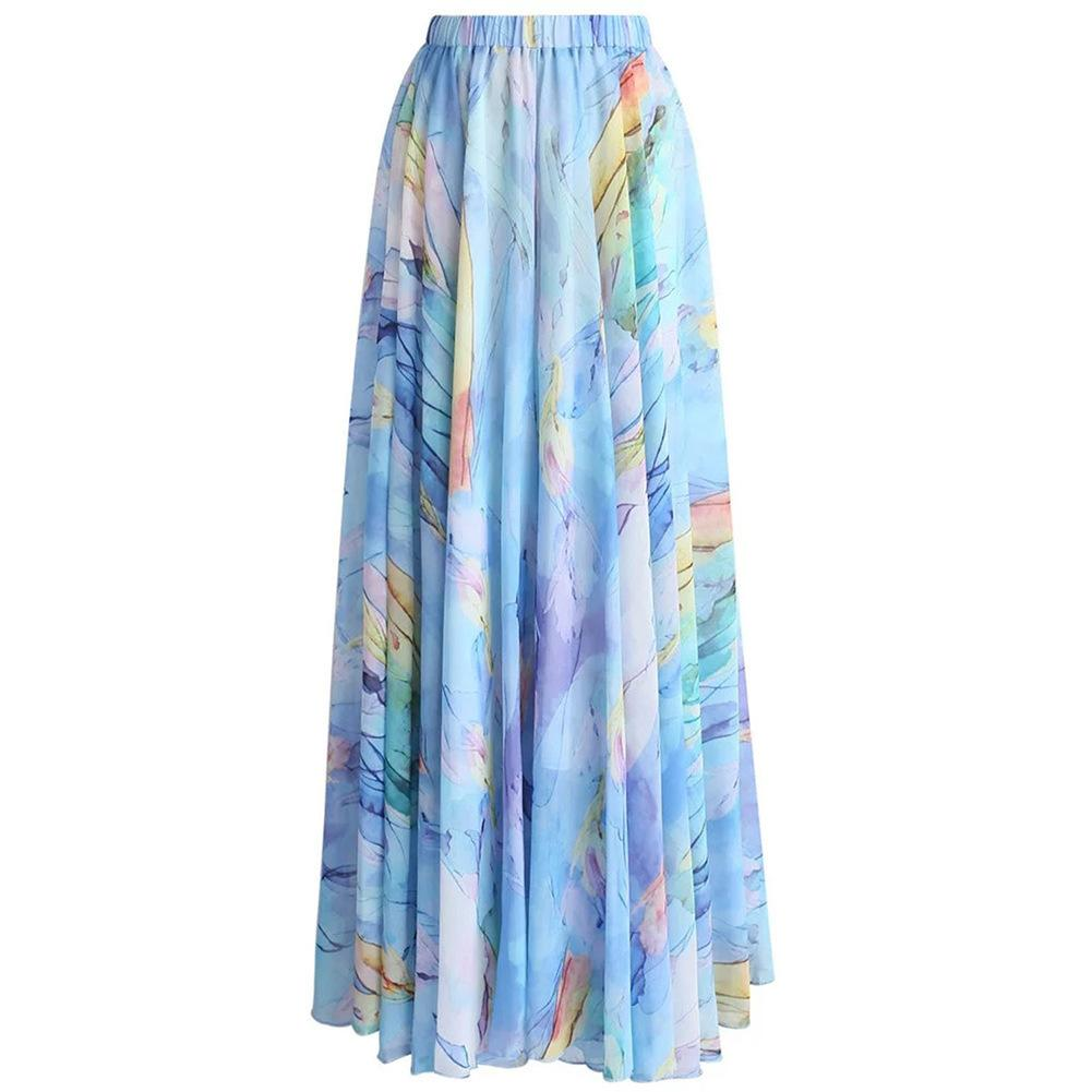 dfdcb00559157 2019 2018 Summer New Fashion Women Plus Size Beach Skirts Elegant Floral Chiffon  Maxi Skirt Lc65039 Saias Das Mulheres From Lj_2014, $33.44 | DHgate.Com
