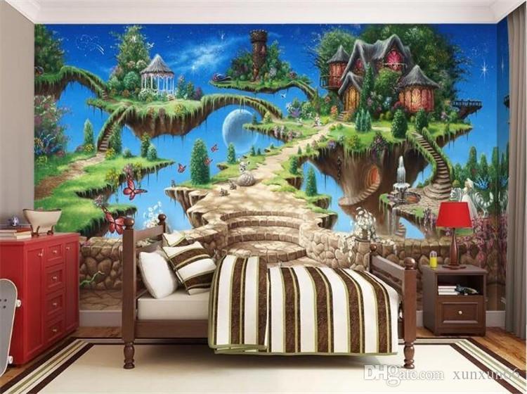 Murales Cameretta Bambini : Acquista foto wallpaper 3d stereo cartoon fiaba castello murale