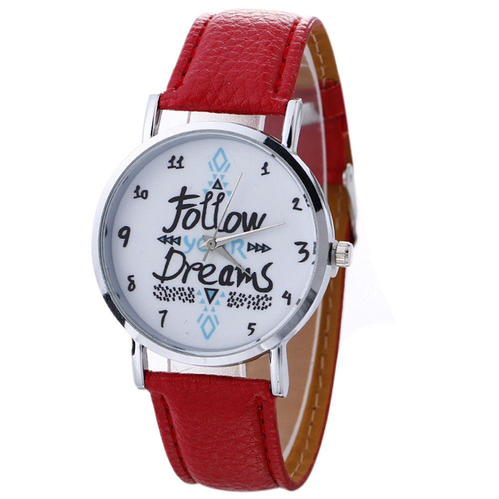 79bce8ed1b4 Aimecor Fashion Women Watch Follow Your Dream Neutral Letter Pattern  Leather Analog Quartz Wrist Watch Relogio Masculino Online Wrist Watch Best  Wrist Watch ...