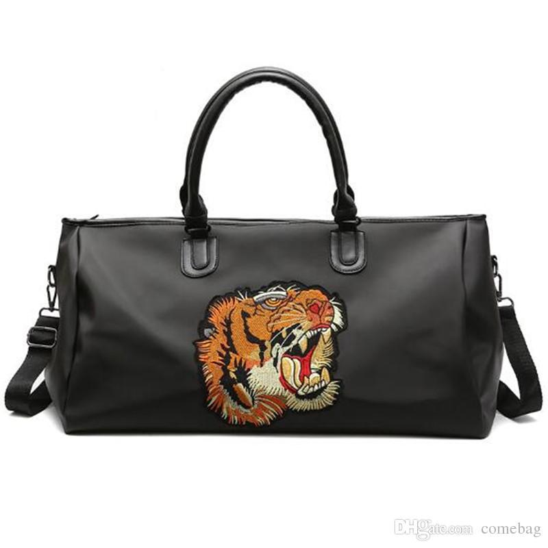 Big Size Women Embroidery Designer Tiger Duffel Bag Waterproof