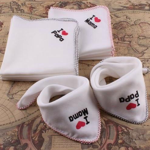 Nuevo bebé baberos Alimentación del bebé I Love Papa Mama algodón Multiusos niños Saliva toalla Newborn Gasa Pañuelo Burp Cloth Baby Bibs