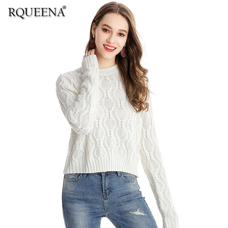 Compre Ropa De Mujer 2018 Primavera Cuello Redondo Suéter Blanco Mujer De  Punto Jersey Manga Larga Más El Tamaño Grueso Suéteres Y Jerseys A  37.89  Del ... de029eebd0b5