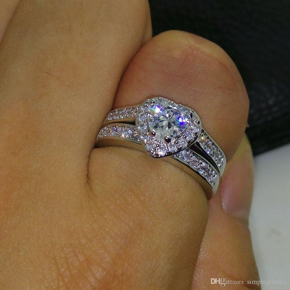 choucong Heart Lovers Jewelry 5A Zircon stone Gem 10KT White Gold Filled 2 Wedding Ring Set Sz 5-11 Gift