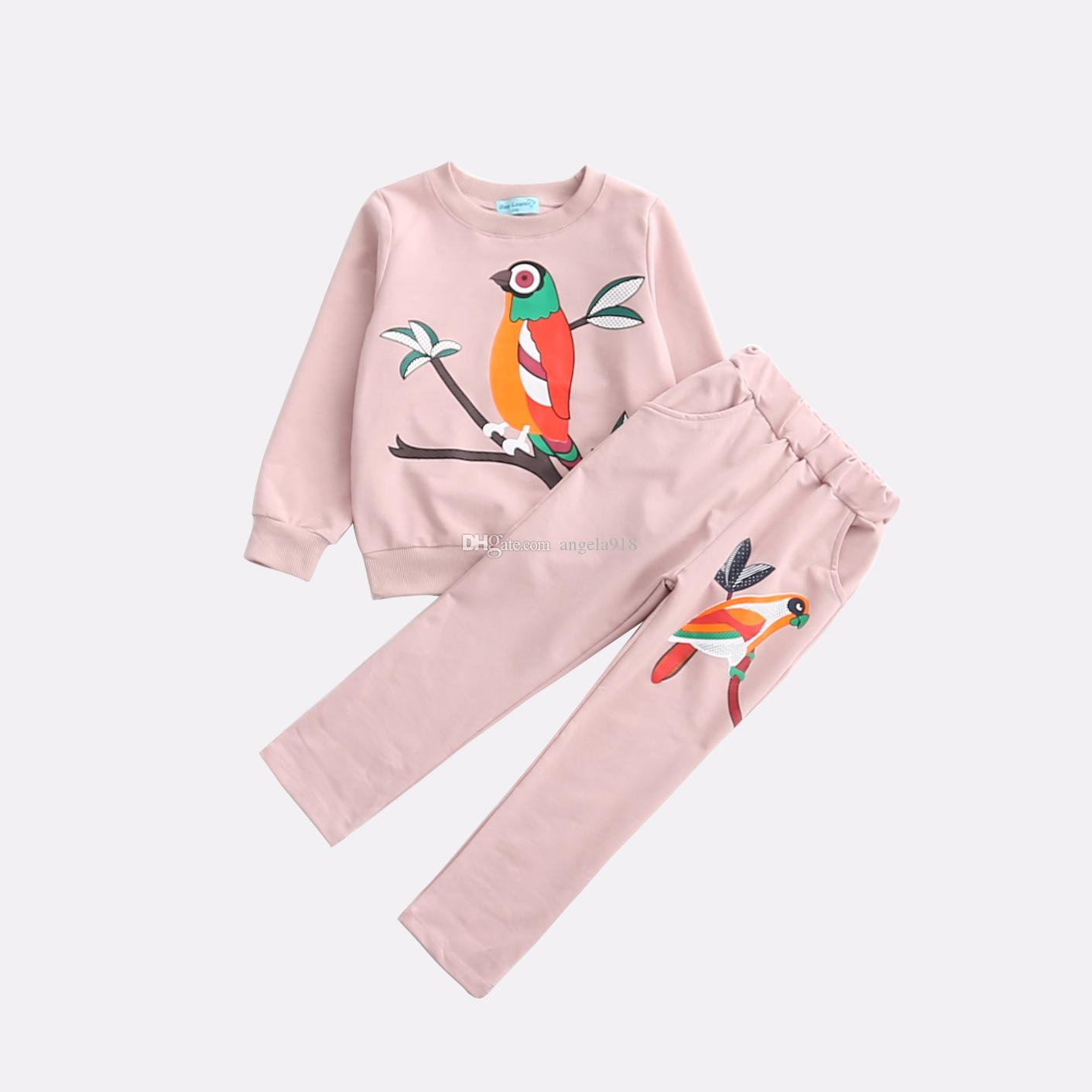 INS hot sell models cotton children's clothing girls cute colorful birds casual trousers sweater suit pink black two optional H028