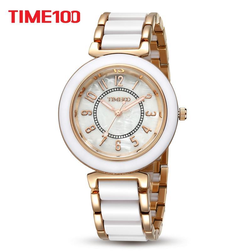 Compre Time100 Mulheres Quartz Casual Pulseira Relógios Laides Relógio De  Moda De Luxo Liga Simulado Cerâmica Relógio Pulseira De Discagem W50149l De  ... 460e45f99a