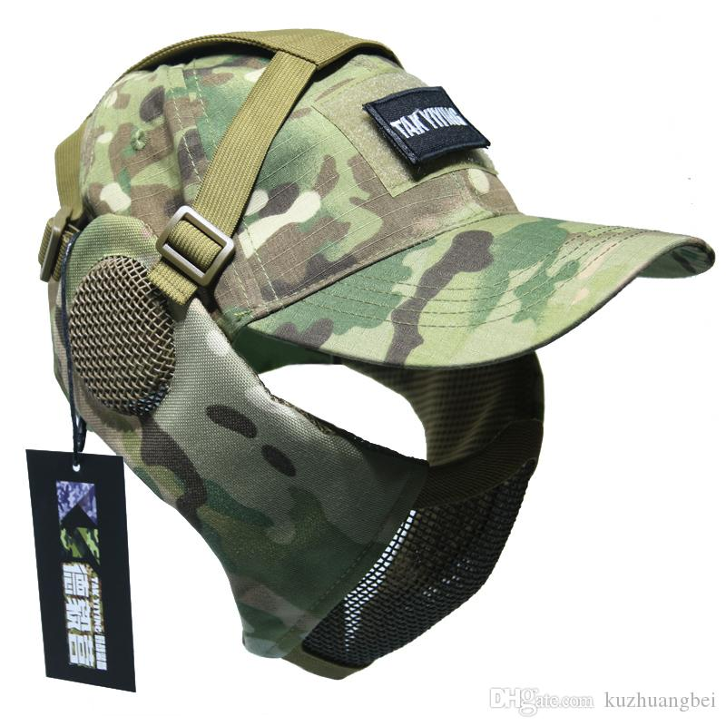 2019 Tactical Foldable Mesh Mask With Ear Protection With Cap For