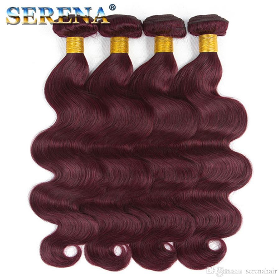 Malaysian 99J Red Body Wave Bundle with Lace Closure Best Grade Human Virgin Hair Lace 13X4 Frontal with 4 Bundles Human Hair Extensions