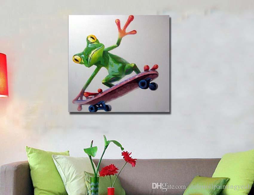 2018 Handmade Paintings Home Wall Decoration Cute Frog Animal ...