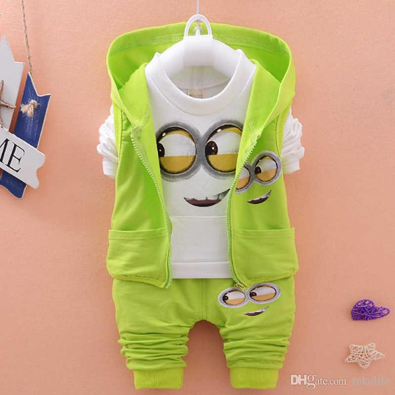 9b62b0682 2019 New Baby Girls Boys Minions Clothing Sets Kids Autumn Children ...