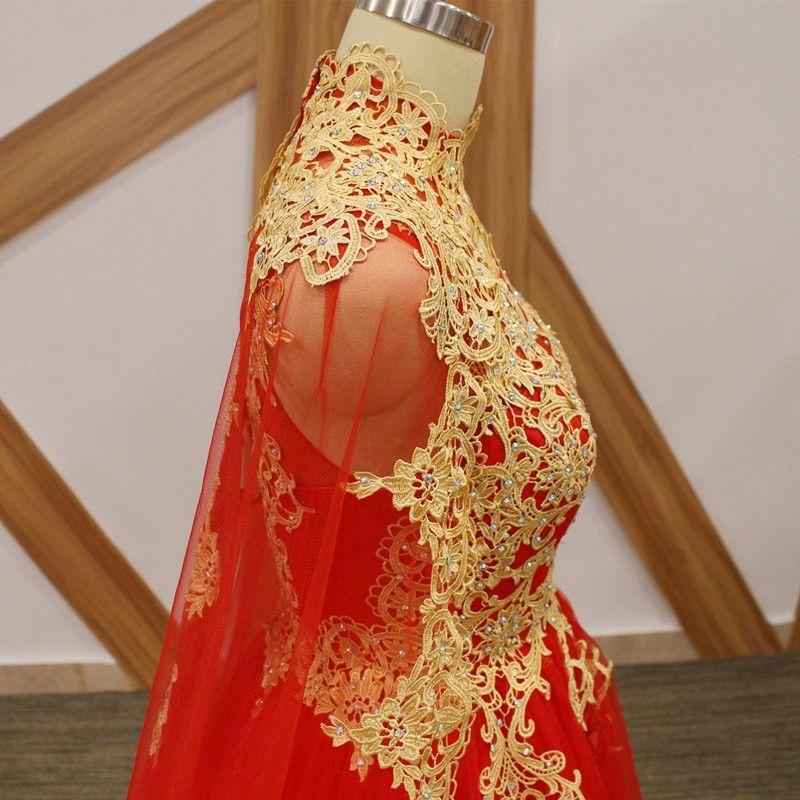 Elegante Vermelho Gola Alta Árabe Longos Vestidos de Baile Com Capuz Oriente Médio Apliques Formais Frisado Prom Vestidos Robe De Bal Vestidos de Noite