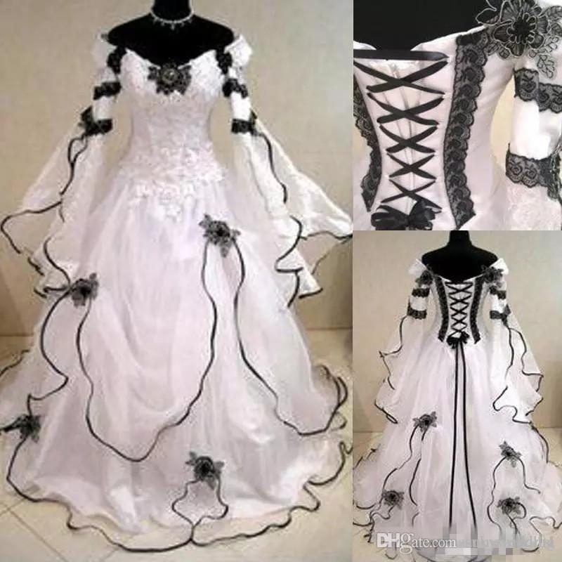 2be93bff7a2 Discount Gothic Plus Size Wedding Dresses Victorian Dress Long Sleeves  Black And White Lace Corset Bridal Gowns A Line Garden Country Bridal Gowns  Designer ...